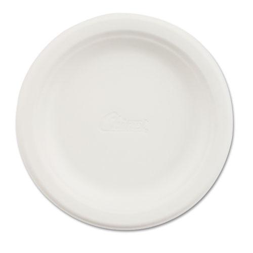"Paper Dinnerware, Plate, 6"" dia, White, 125/Pack | by Plexsupply"