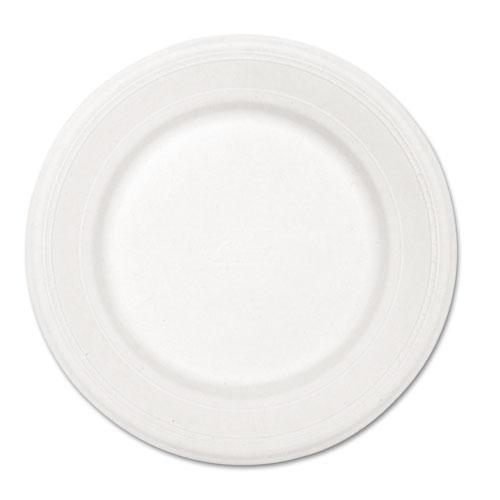 "Paper Dinnerware, Plate, 10 1/2"" dia, White, 500/Carton | by Plexsupply"