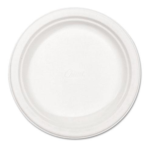 "Paper Dinnerware, Plate, 8 3/4"" dia, White, 500/Carton | by Plexsupply"