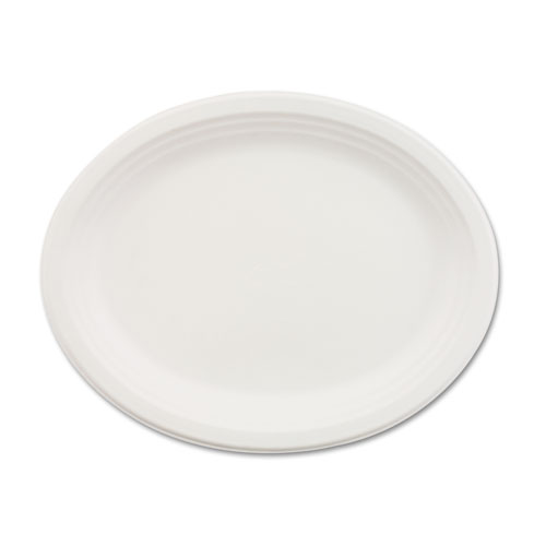 Classic Paper Dinnerware, Oval Platter, 9 3/4 x 12 1/2, White, 500/Carton | by Plexsupply