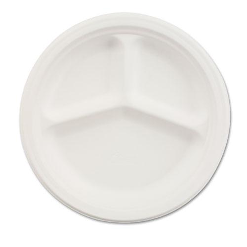 "Paper Dinnerware, 3-Comp Plate, 10 1/4"" dia, White, 500/Carton | by Plexsupply"