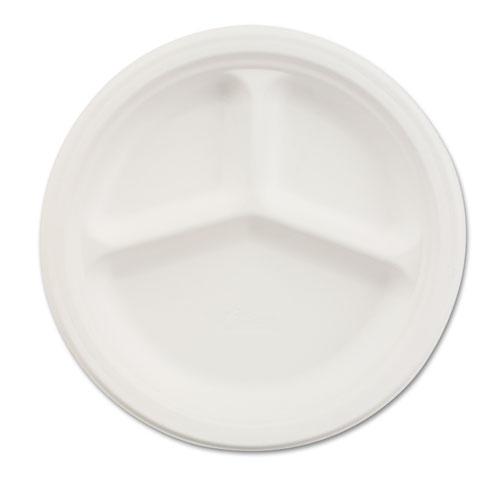 "Paper Dinnerware, 3-Comp Plate, 9 1/4"" dia, White, 500/Carton | by Plexsupply"
