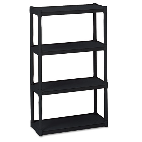 Iceberg Rough N Ready Four-Shelf Open Storage System, Resin, 32w x 13d x 54h, Black
