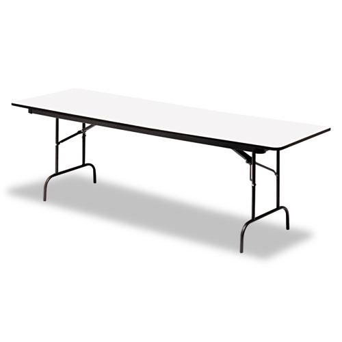 Premium Wood Laminate Folding Table, Rectangular, 60w x 30d x 29h, Gray/Charcoal | by Plexsupply