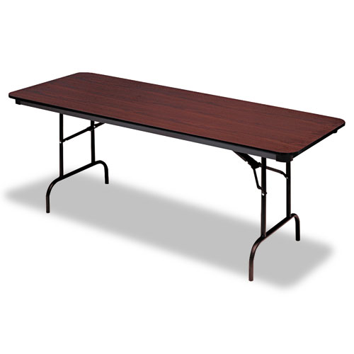 Premium Wood Laminate Folding Table, Rectangular, 72w x 30d x 29h, Mahogany | by Plexsupply