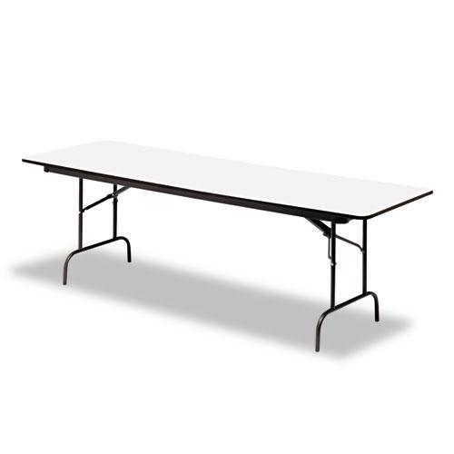 Premium Wood Laminate Folding Table, Rectangular, 72w x 30d x 29h, Gray/Charcoal | by Plexsupply