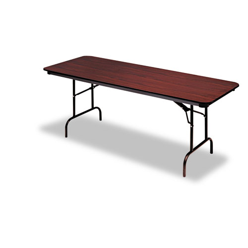 Premium Wood Laminate Folding Table, Rectangular, 96w x 30d x 29h, Mahogany | by Plexsupply