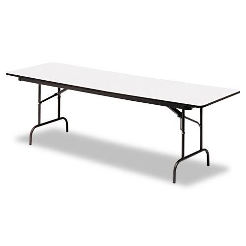Premium Wood Laminate Folding Table, Rectangular, 96w x 30d x 29h, Gray/Charcoal | by Plexsupply