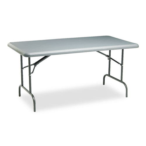IndestrucTables Too 1200 Series Folding Table, 60w x 30d x 29h, Charcoal | by Plexsupply