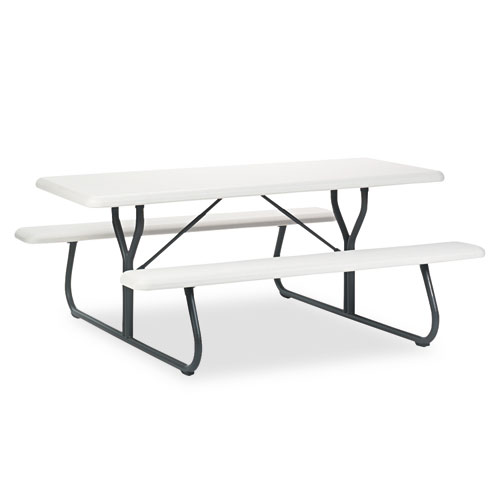 IndestrucTables Too 1200 Series Resin Picnic Table, 72w x 30d, Platinum/Gray | by Plexsupply