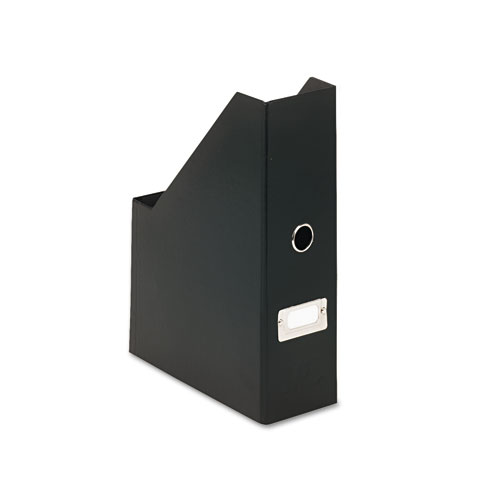"Heavy-Duty Fiberboard Magazine File with PVC Laminate, 4"" x 9 1/4"" x 14"", Black 
