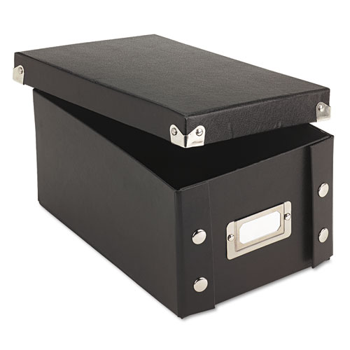 Collapsible Index Card File Box, Holds 1,100 4 x 6 Cards, Black | by Plexsupply