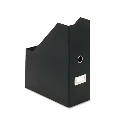 Heavy-Duty Fiberboard Magazine File with PVC Laminate, 4 1/2 x 11 x 13, Black | by Plexsupply