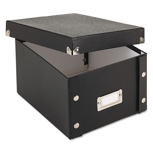 Collapsible Index Card File Box, Holds 1,100 5 x 8 Cards, Black | by Plexsupply