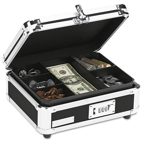 Plastic & Steel Cash Box w/Tumbler Lock, Black & Chrome | by Plexsupply