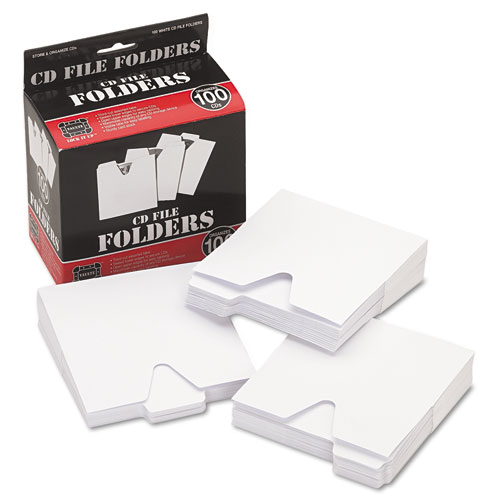 CD File Folders, 100/Pack | by Plexsupply