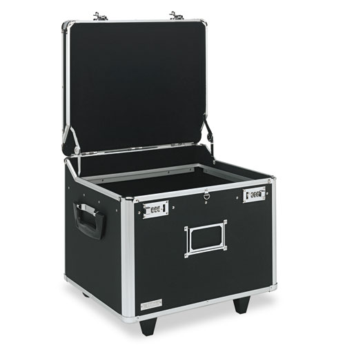"Locking Mobile File Chest, Letter/Legal Files, 17.5"" x 15.5"" x 14.5"", Black/Chrome 
