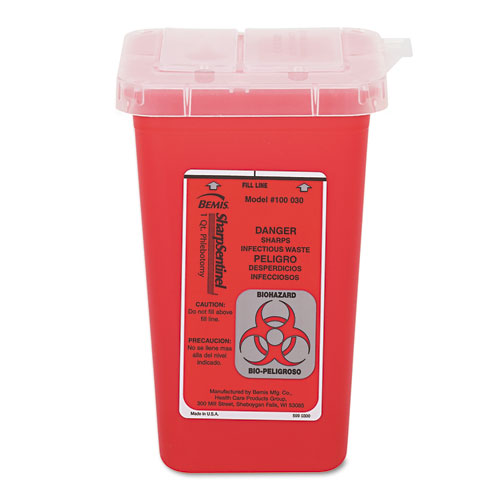 Sharps Waste Receptacle, Square, Plastic, 32oz, Red