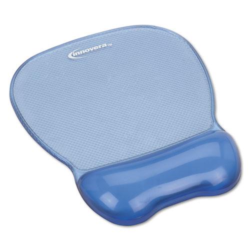 Gel Mouse Pad w/Wrist Rest, Nonskid Base, 8-1/4 x 9-5/8, Blue | by Plexsupply
