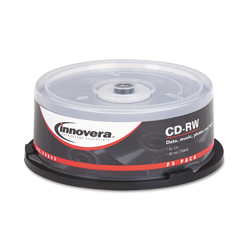 CD-RW Discs, 700MB/80min, 12x, Spindle, Silver, 25/Pack | by Plexsupply