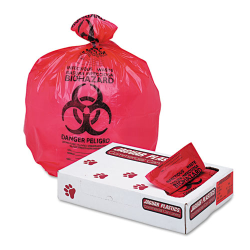 """Health Care """"Biohazard"""" Printed Liners, 1.3mil, 33 x 39, Red, 150/Carton"""