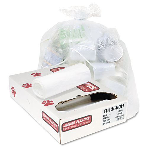Jaguar Plastics® Super Extra-Heavy, 20-30gal, 16mic, 30 x 37, Natural, 25 Bags/Roll, 20 Rolls/CT