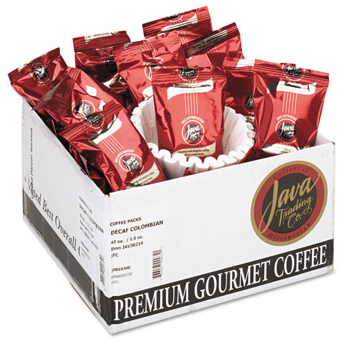 Distant Lands Coffee Coffee Portion Packs, 1.5oz Packs, Colombian Decaf, 42/Carton