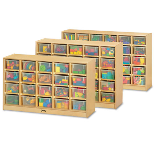Tray Mobile Storage, 57w x 15d x 35.5h, Birch