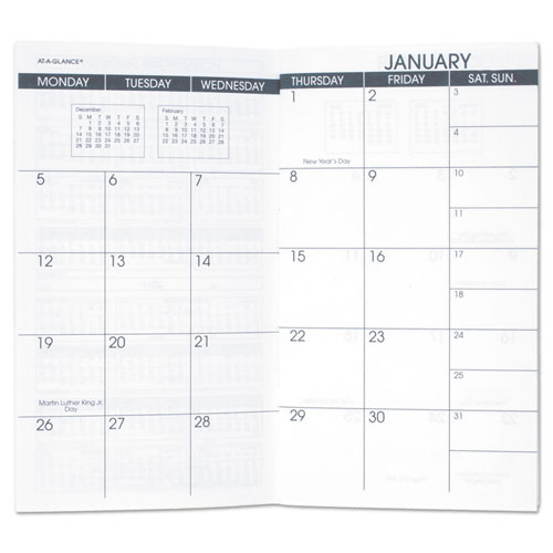 Pocket Size Monthly Planner Refill, 3 1/2 x 6 1/8, White, 2018-2019