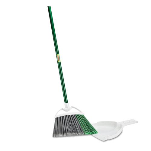 Precision Angle Broom with Dustpan, 53 Handle, Green/Gray, 4/Carton