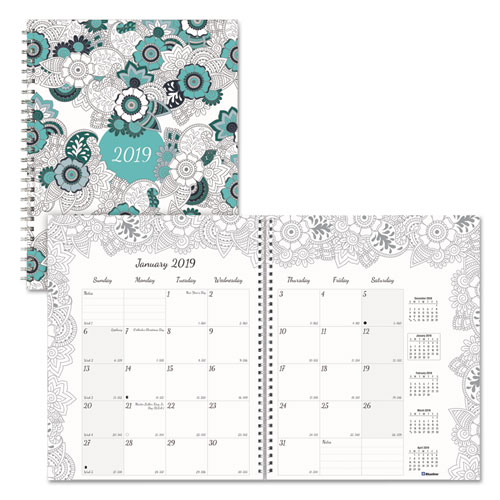 Redc292001 blueline doodleplan monthly planner zuma Coloring book planner