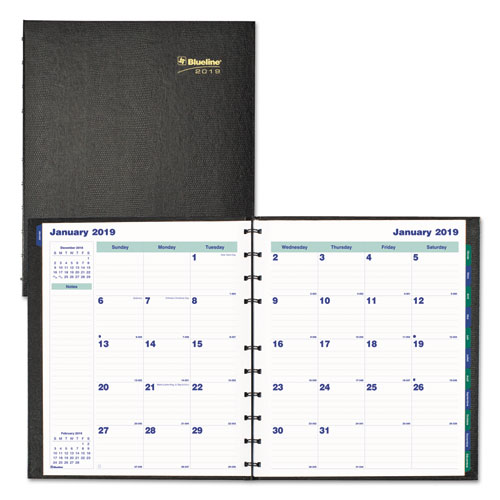 MiracleBind 17-Month Academic Planner, Hard Cover, 11 x 9 1/16, Black, 2018-2019