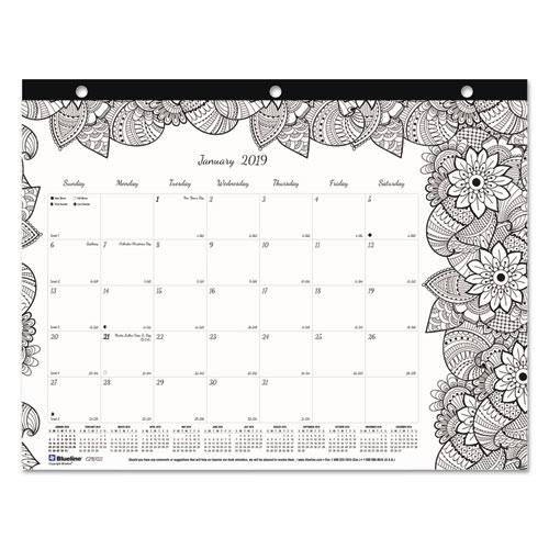 Doodleplan Desk Pad Mini Calendar W Coloring Pages 11 X 8