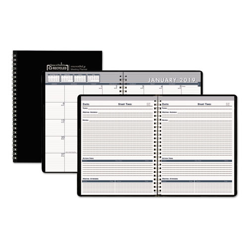 Recycled Monthly Meeting Planner, 8 1/2 x 11, Black Cover, 2019