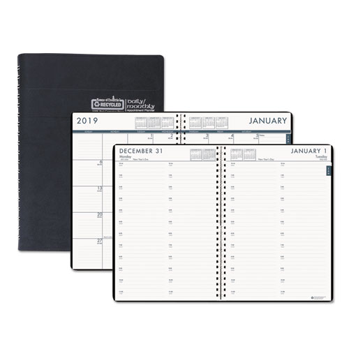 Recycled  Daily Appointment BookMonthly Planner  X  Black