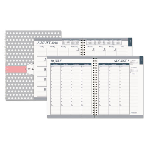 recycled academic monthly weekly hard cover planner 7 x 9 dots