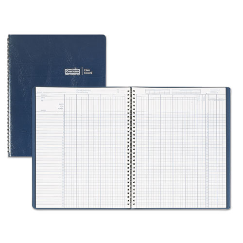 Class Book, Embossed Leather-Like Cover, 11 x 8 1/2, Blue | by Plexsupply