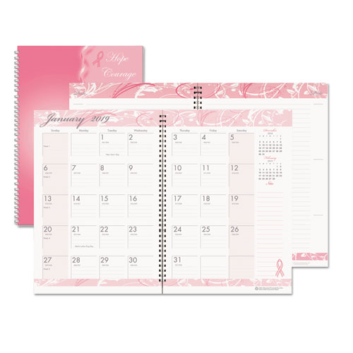 Recycled Breast Cancer Awareness Monthly Planner/Journal, 7 x 10, Pink, 2019