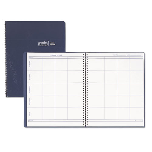 Lesson Plan Book, Embossed Leather-Like Cover, 11 x 8 1/2, Blue | by Plexsupply