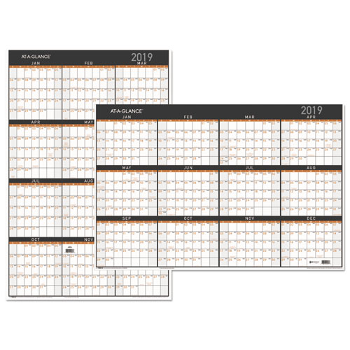 contemporary two sided yearly erasable wall planner 24 x 36 2019