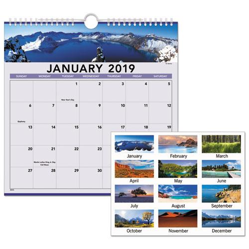Landscape Monthly Wall Calendar, 12 x 12, 2019