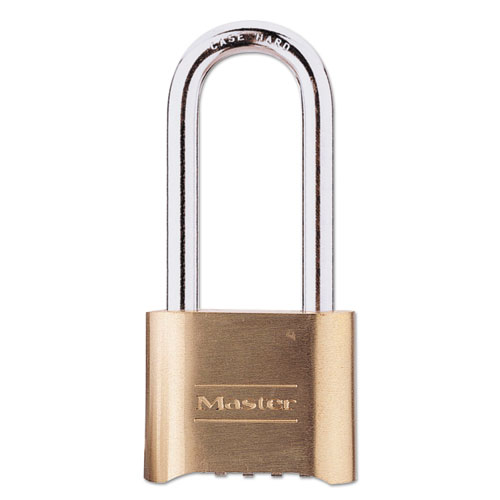 Resettable Combination Padlock, Brass, 2 Wide, Brass Color, 6/Box
