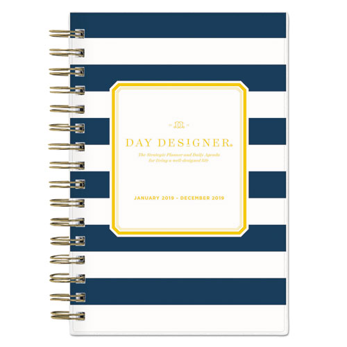 day designer daily monthly planner 5 x 8 navy white 2019