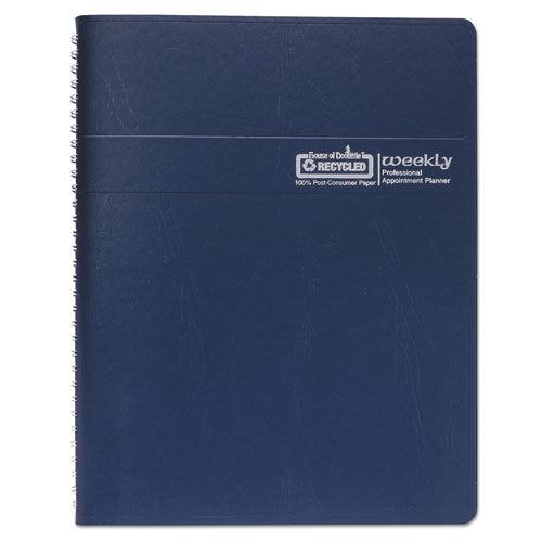 Recycled Professional Weekly Planner, 15-Min Appointments, 11 x 8.5, Blue, 2021