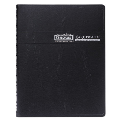 Recycled Earthscapes Weekly/Monthly Planner, 11 x 8.5, Black, 2021