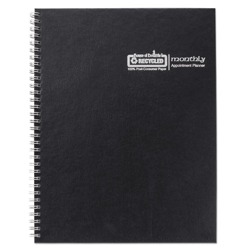 One-Year Monthly Hard Cover Planner, 11 x 8.5, Black, 2020-2022