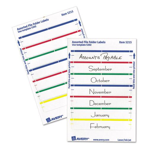 Printable 4 x 6 - Permanent File Folder Labels, 0.69 x 3.44, White, 7/Sheet, 36 Sheets/Pack, (5215)