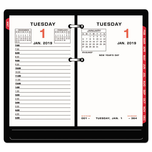 Two-Color Desk Calendar Refill, 3 1/2 x 6, 2019