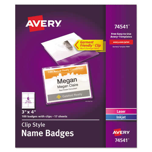 Clip-Style Name Badge Holder with Laser/Inkjet Insert, Top Load, 4 x 3, White, 100/Box | by Plexsupply