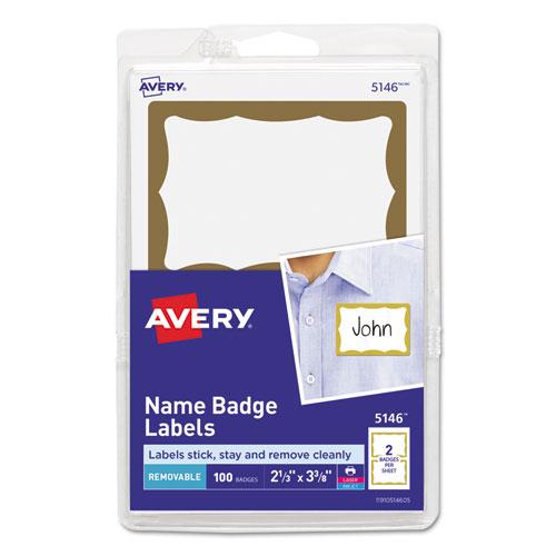 Printable Adhesive Name Badges, 2 1/3 x 3 3/8, Gold Border, 100/Pack